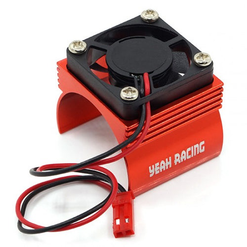 YEAH RACING ALUMINUM 540 MOTOR HEAT SINK W/ COOLING FAN RED #YA-0410RD