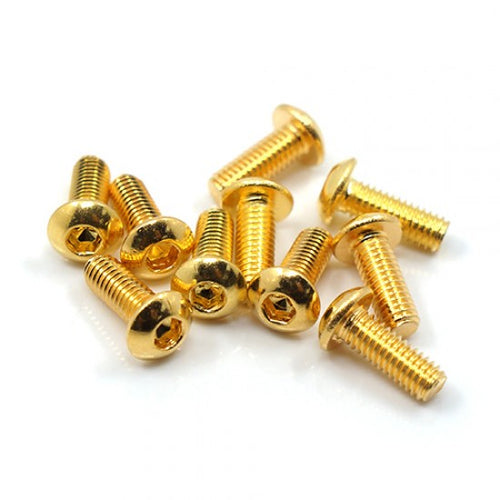 Yeah Racing 12.9 Grade Stainless Steel 24K Gold Coated Screw 3x12mm Hex Socket Button Head Screw 10pcs #SHP-312GD