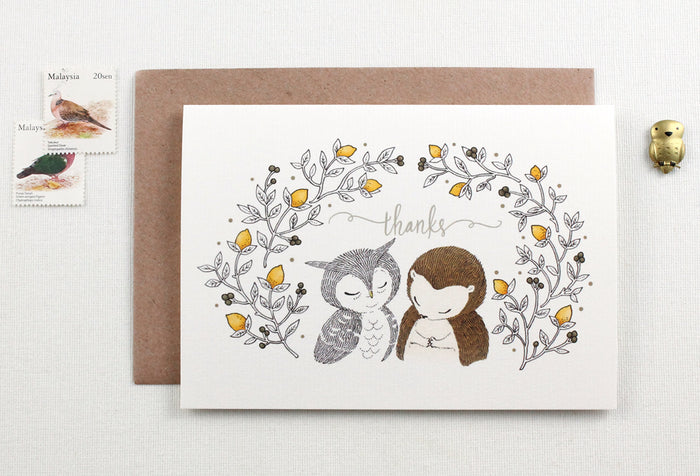 Thanks, Owl & Hedgehog - Greeting Card
