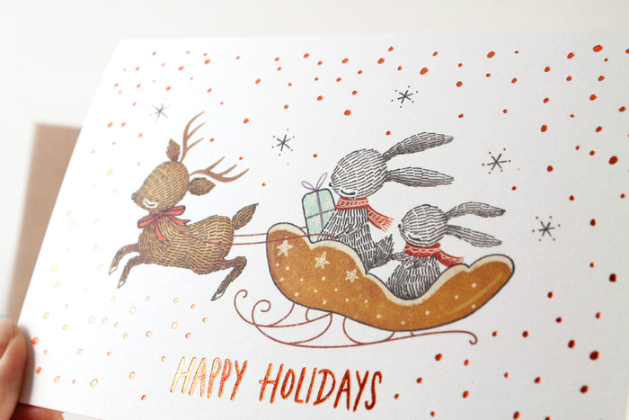 Christmas Card - Happy Holidays - Copper Foil Greeting Card (Special Discount)