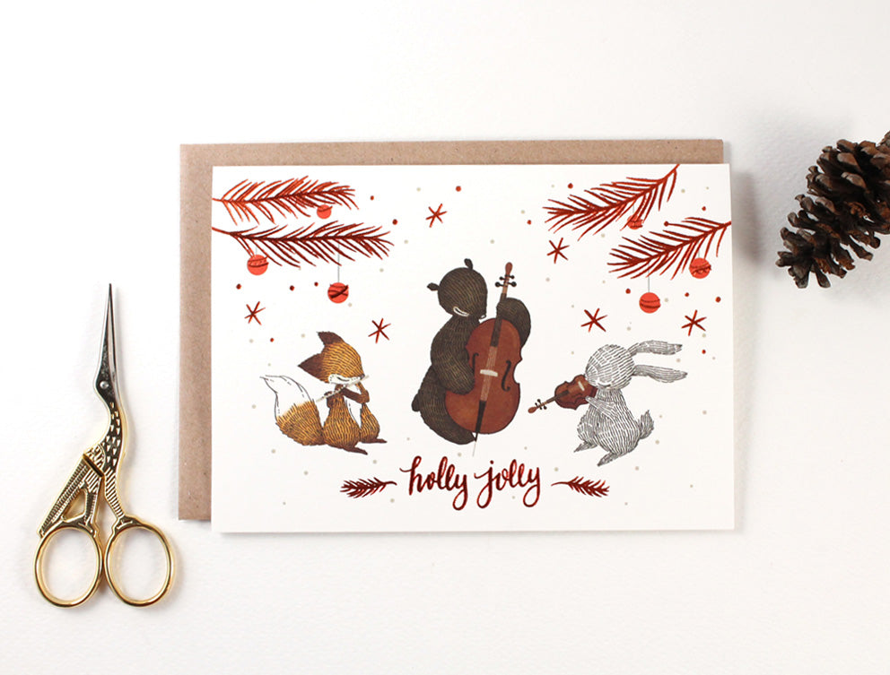 Christmas Card - Holly Jolly - Copper Foil Greeting Card (Special Discount)