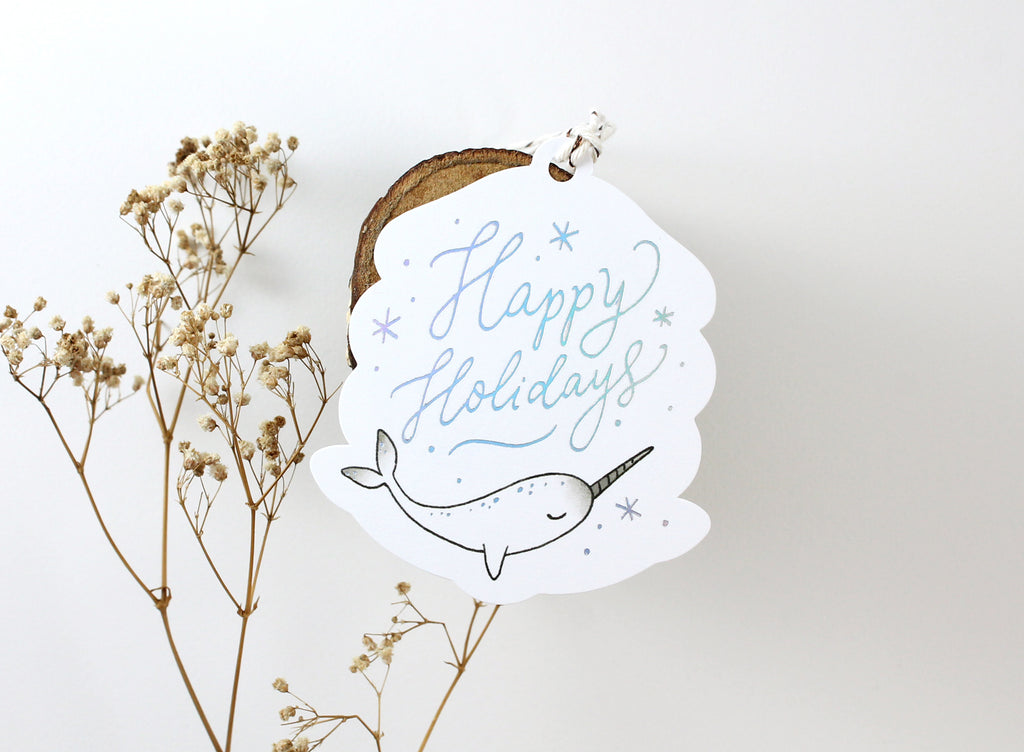 3 Holographic Foil Tags - Happy Holidays Narwhal (Special Discount)