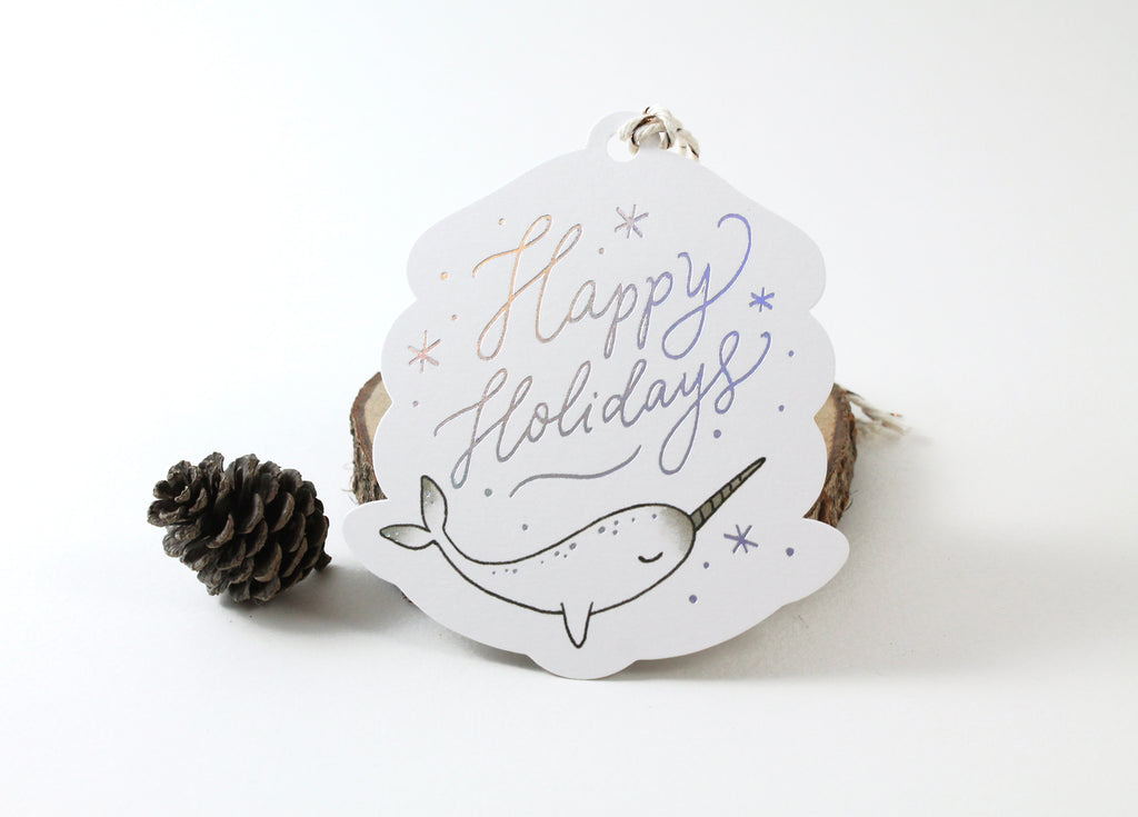 3 Holographic Foil Tags - Happy Holidays Narwhal