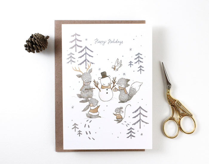 Christmas Card - Happy Holidays Snowbear - Holographic Foil Greeting Card
