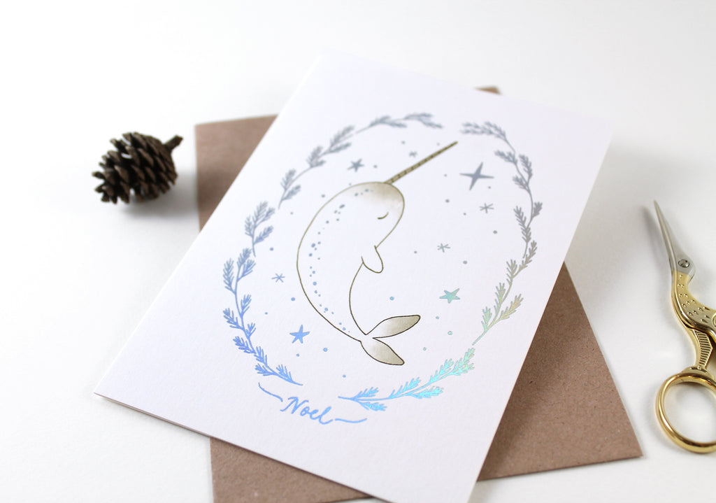 Christmas Card - Narwhal Noel - Holographic Foil Greeting Card