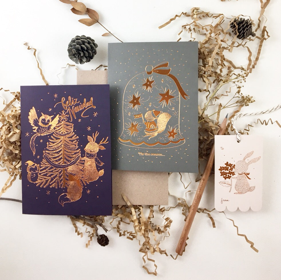 Christmas Card - 'Tis the Season - Copper Foil Greeting Card (Special Discount)