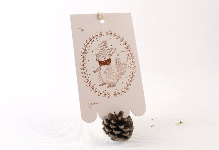 10 Copper Foil Tags - Fox Wreath