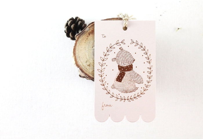 10 Copper Foil Tags - Bear Wreath