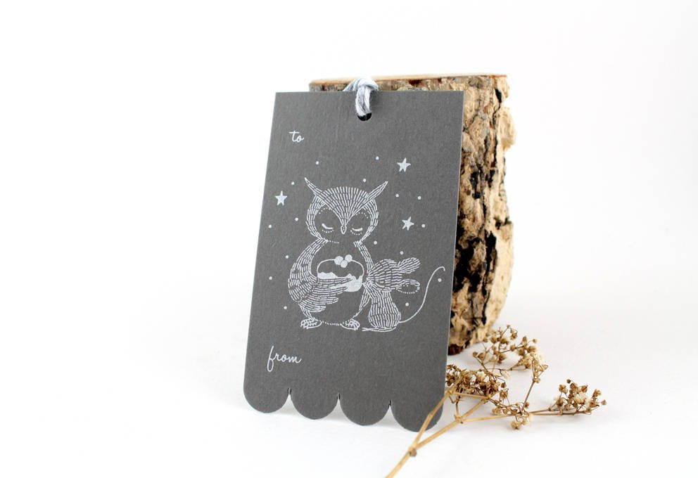 10 Gift Tags - Owl, Mouse & Sweet Cake