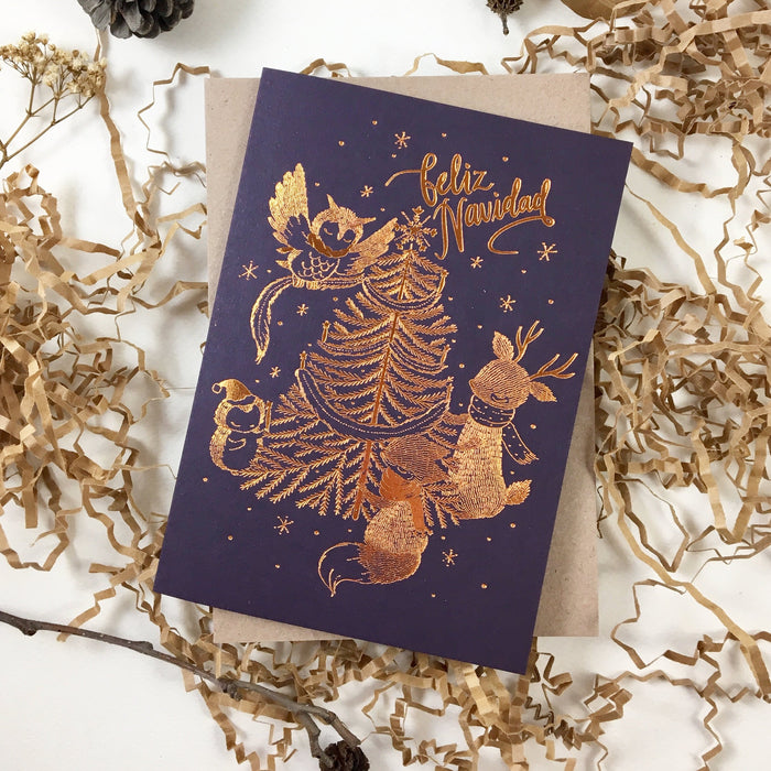 Christmas Card - Furry Navidad - Copper Foil Greeting Card