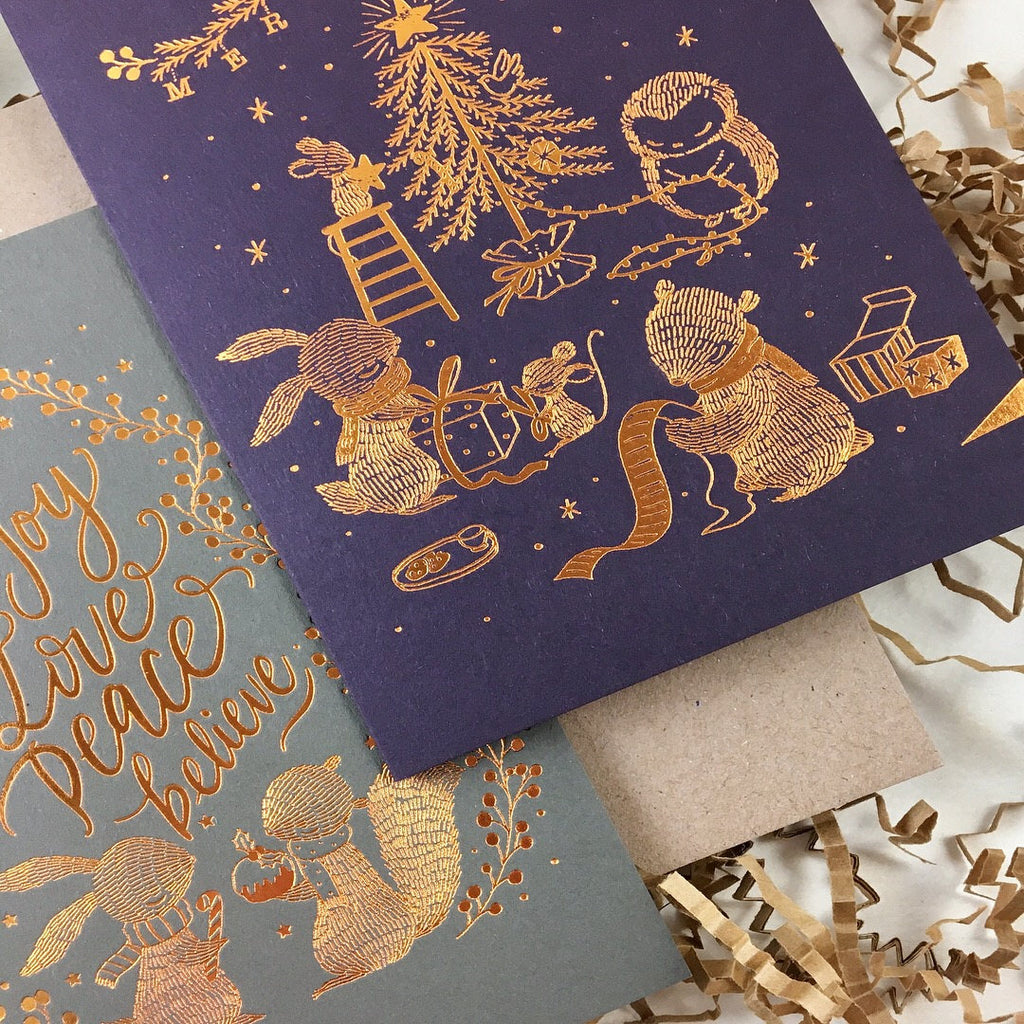 Christmas Card - Joy, Love, Peace, Believe - Copper Foil Greeting Card