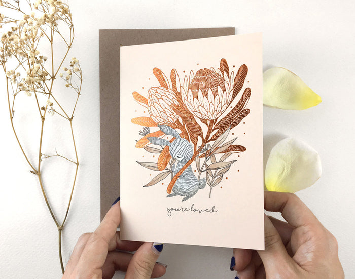 You're Loved, Rabbit & King Protea - Copper Foil Greeting Card | Botanical Collection