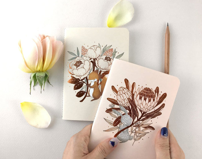 Copper Foil Botanical Pocket Notebook - King Protea & David Austin Rose | Botanical Collection