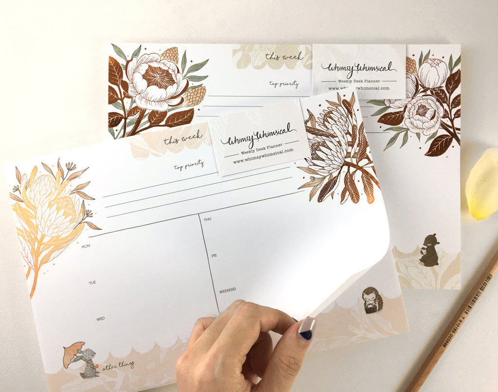 Copper Foil Weekly Desk Planner - Rabbit, Hedgehog & King Protea | Botanical Collection