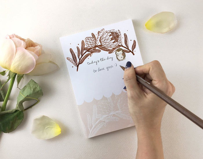 Copper Foil Notepad - Hedgehog & King Protea | Botanical Collection