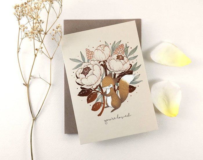 Father's Day Card -You're Loved, Fox & David Austin Rose - Copper Foil Greeting Card | Botanical Collection