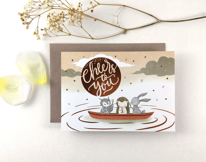 Cheers To You - Copper Foil Greeting Card