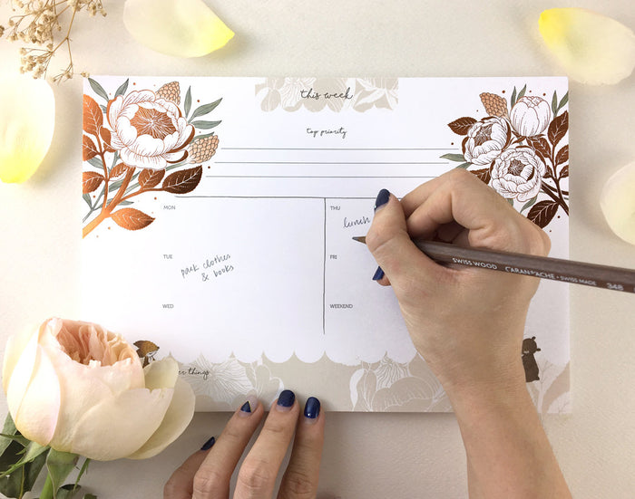 Copper Foil Weekly Desk Planner - Fox, Bear & David Austin Rose | Botanical Collection
