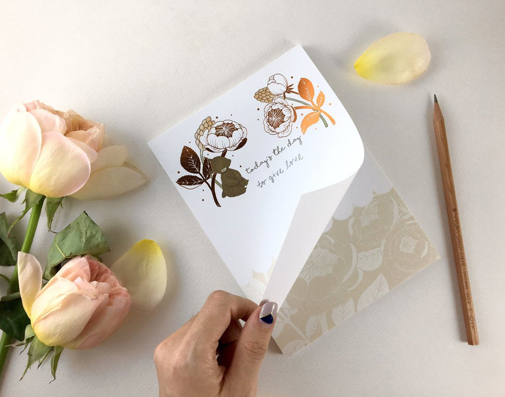 Copper Foil Notepad - Bear & David Austin Rose | Botanical Collection
