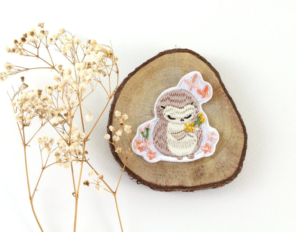 Iron On Patch - Hedgehog & Cherry Blossom