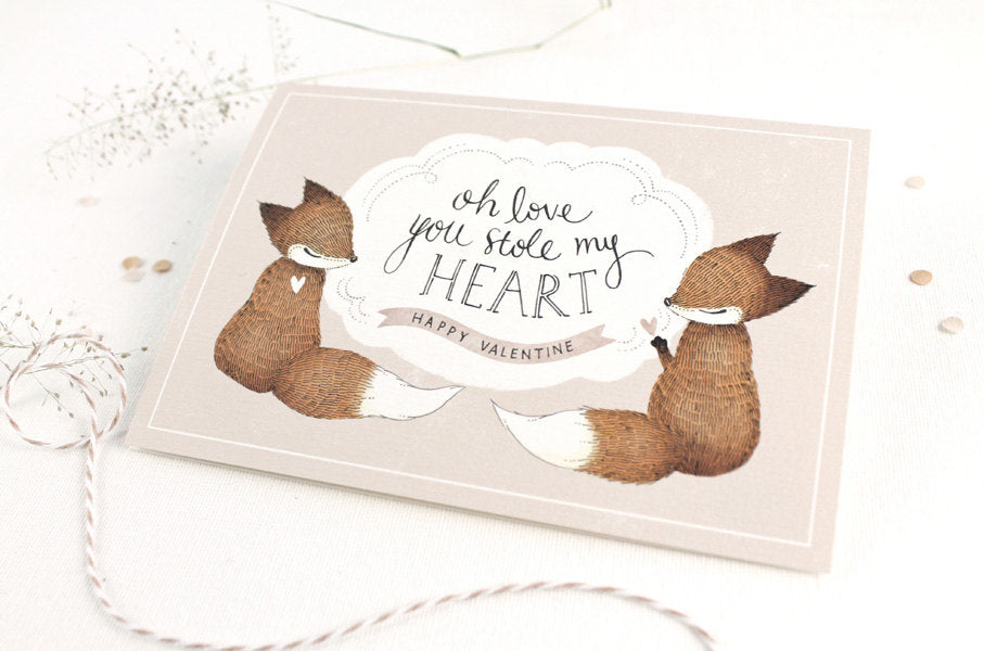 50% OFF - Valentine's Day Card - Oh Love, You Stole My Heart - Greeting Card