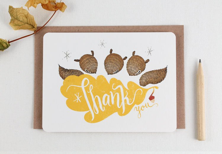 30% OFF - 10 Thank You Notecards - Squirrels & Oak leaf