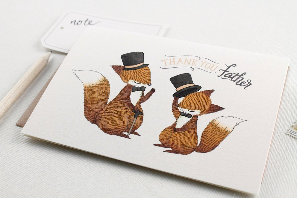 Father's Day Card -Father's Day Card - Thank You, Father Fox - Greeting Card