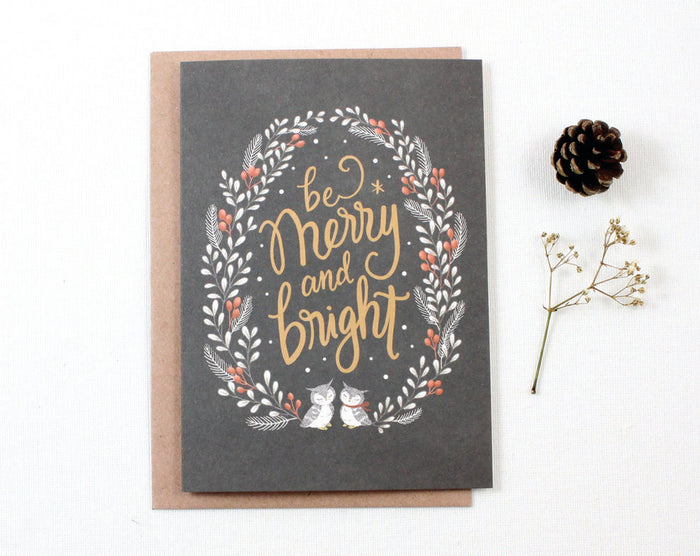 Christmas Card - Be Merry and Bright - Greeting Card
