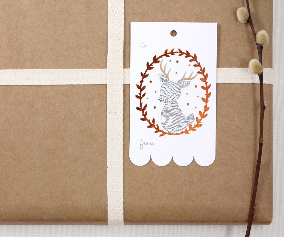 10 Copper Foil Tags - Reindeer Wreath
