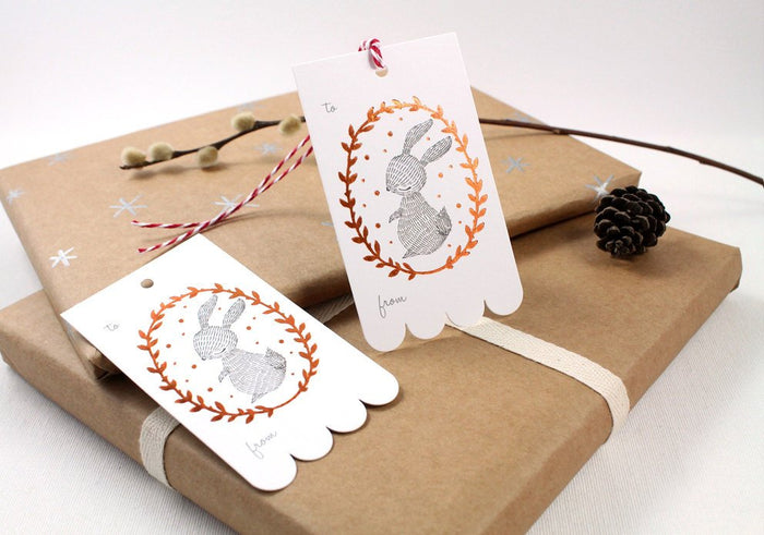 10 Copper Foil Tags - Rabbit Wreath