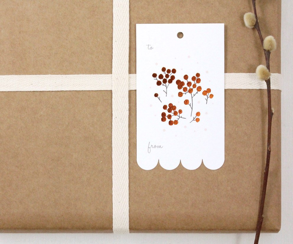 10 Copper Foil Tags - Christmas Berries