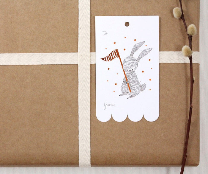 10 Copper Foil Tags - Winter Rabbit
