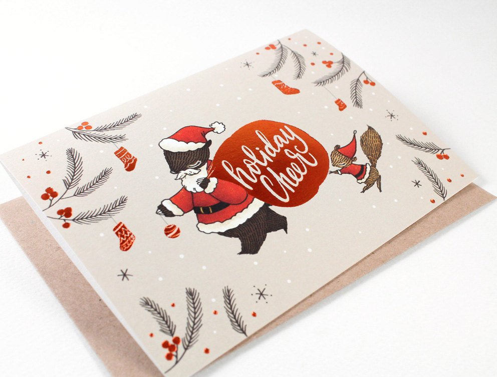 Christmas Card - Holiday Cheer, Santa Bear - Copper Foil Greeting Card