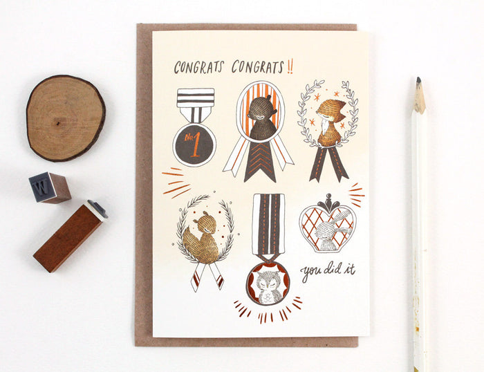Graduation Card - Congrats Congrats - Copper Foil Greeting Card