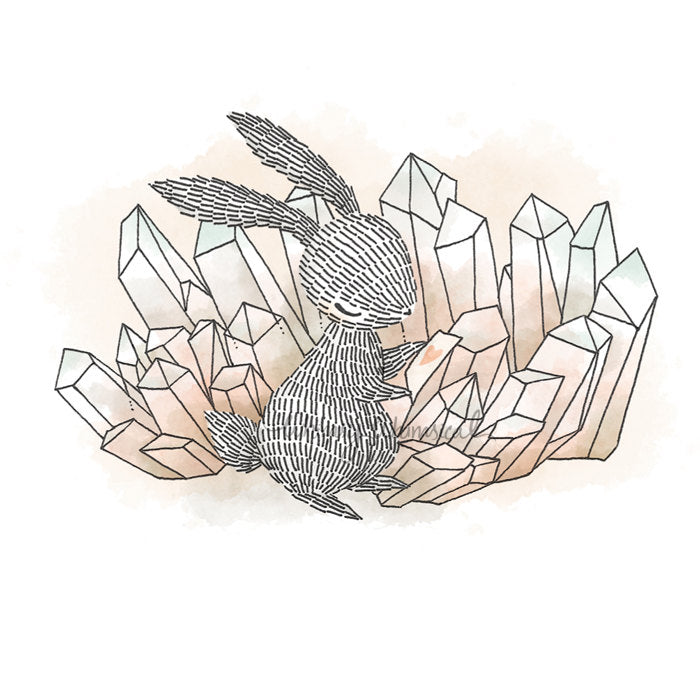 Crystal Quartz II, Rabbit - 5x5 Print