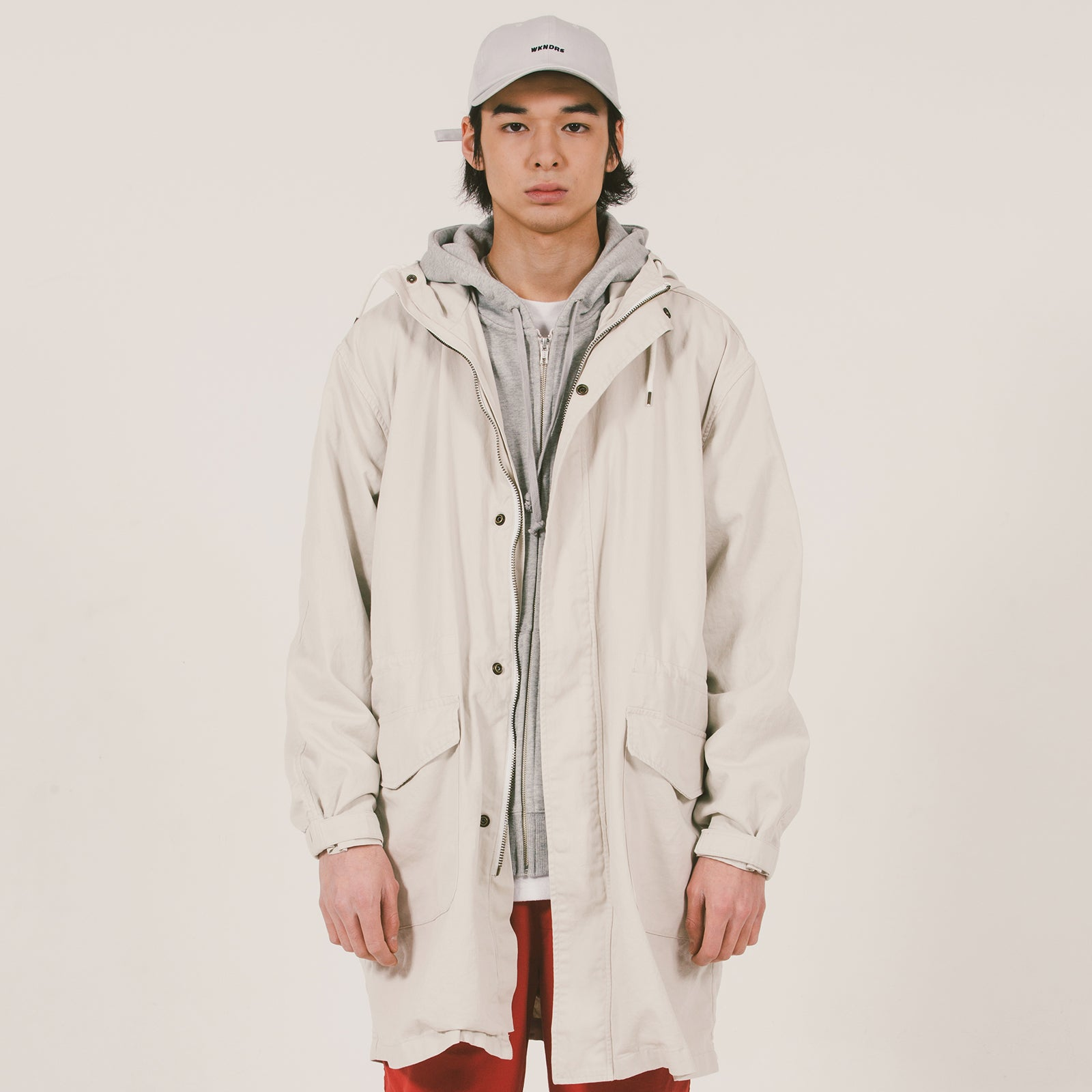 HOODED PARKA COAT (IVORY)