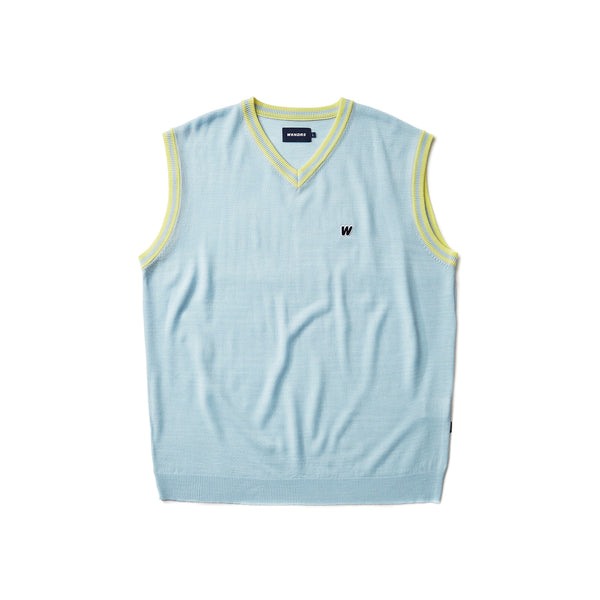 [AFTER 5.Mar SHIPPING ] W LOGO KNIT VEST (S.BLUE)
