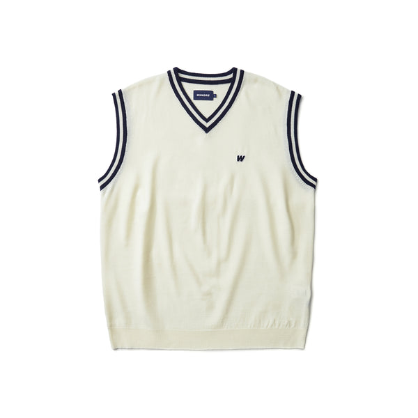 [AFTER 5.Mar SHIPPING ] W LOGO KNIT VEST (WHITE)