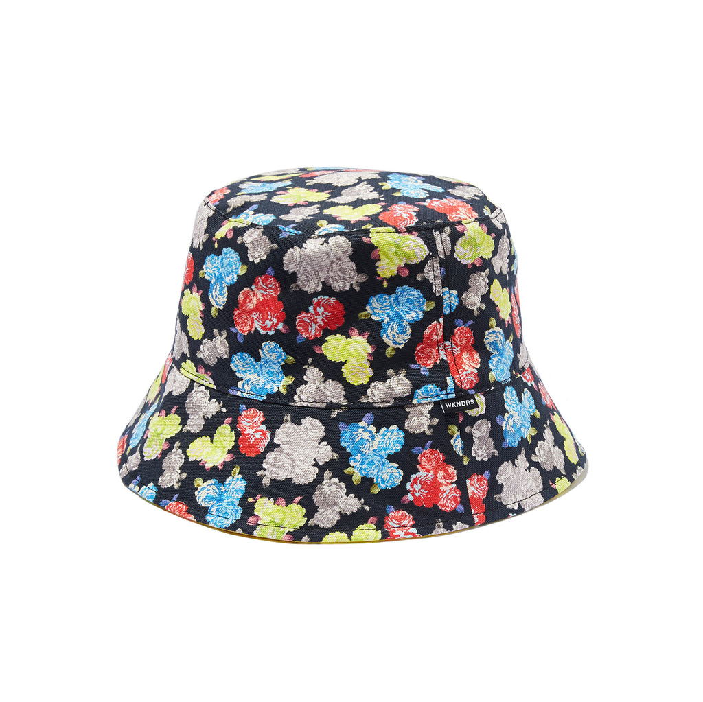 REVERSIBLE FLORAL BUCKET HAT (BLACK)