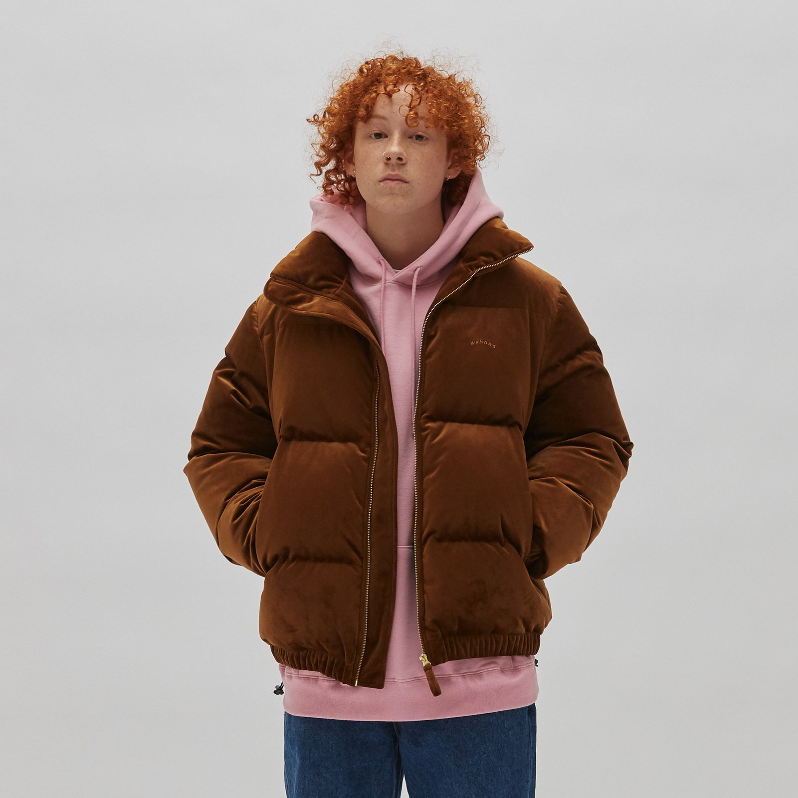 VELVET DOWN JACKET (BROWN)