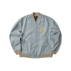 STRIPED STADIUM JACKET (S.BLUE)