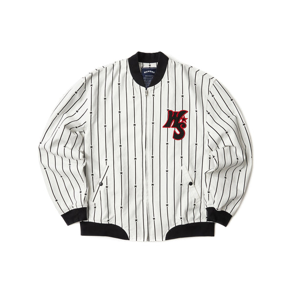 STRIPED STADIUM JACKET (WHITE)
