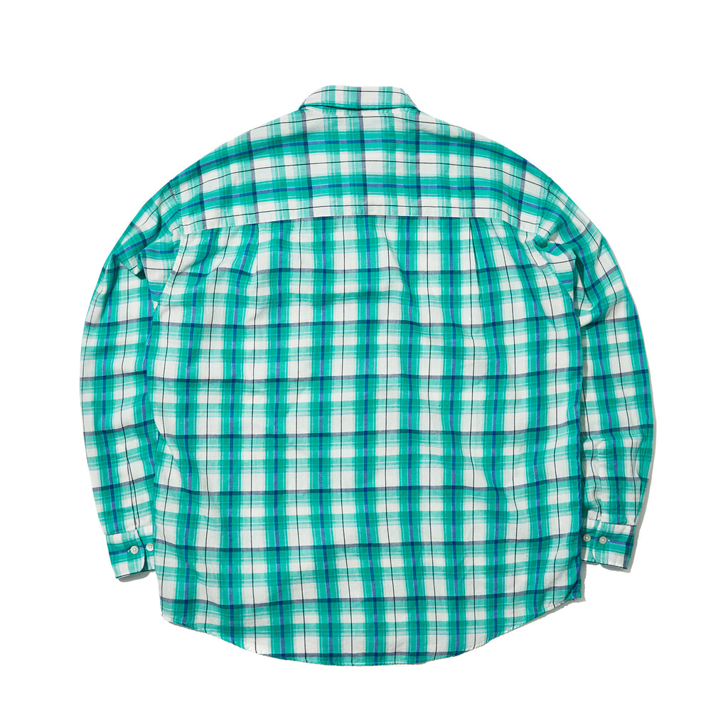 OVERSIZED LS CHECK SHIRT (GREEN)