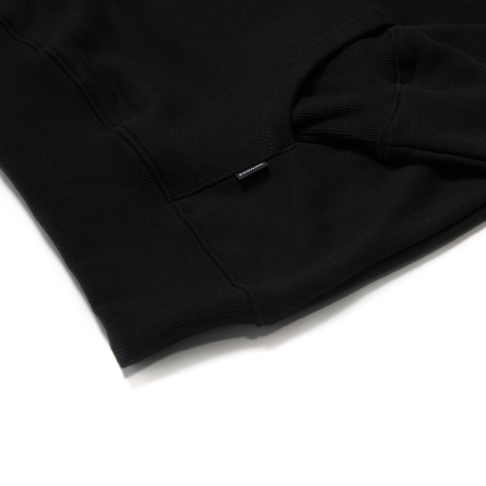 W LOGO NYLON HOODED SWEAT (BLACK)