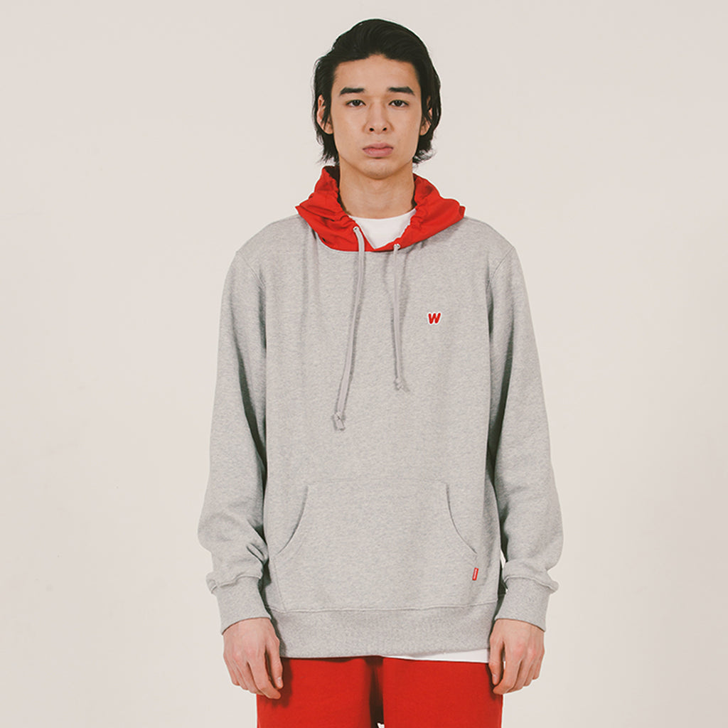 W LOGO NYLON HOODED SWEAT (GREY)