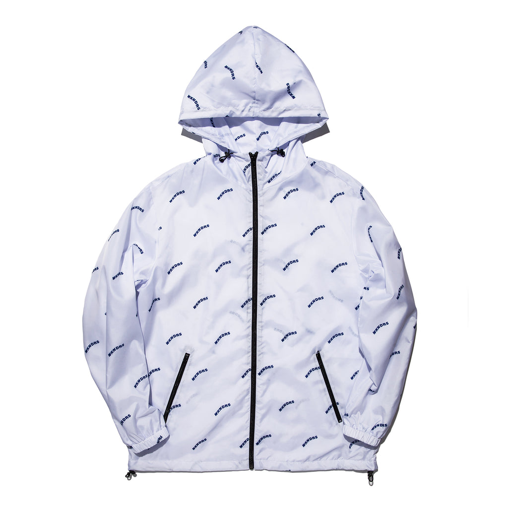 WAVY LOGO HOODED ZIP-UP (WHITE)