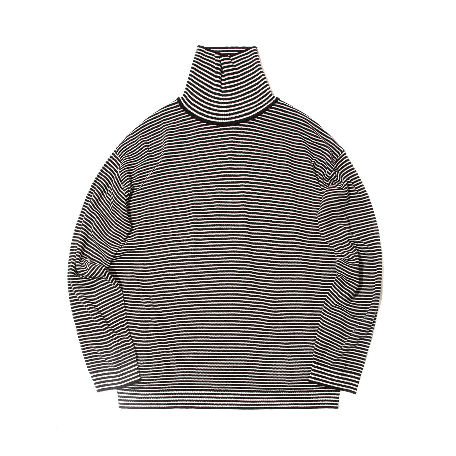 STRIPED KNIT TURTLENECK (BLACK)
