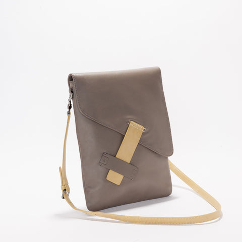 Harlequin Belle Dreambeliever Unisex Leather Satchel Sand Taupe