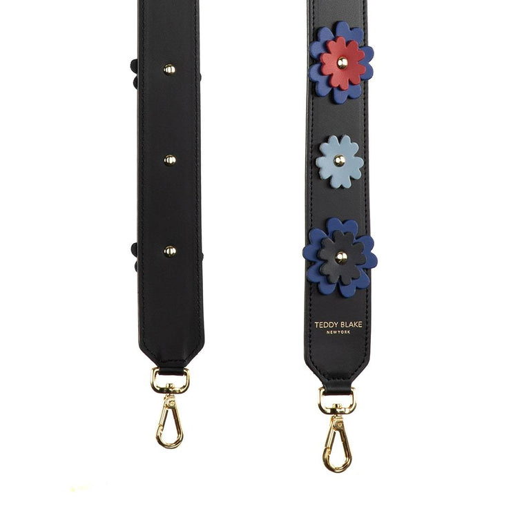 Flower Leather Strap Gold - Red&Blue