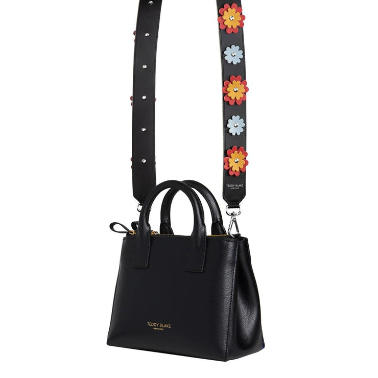 Flower Leather Strap Silver - Red&Orange
